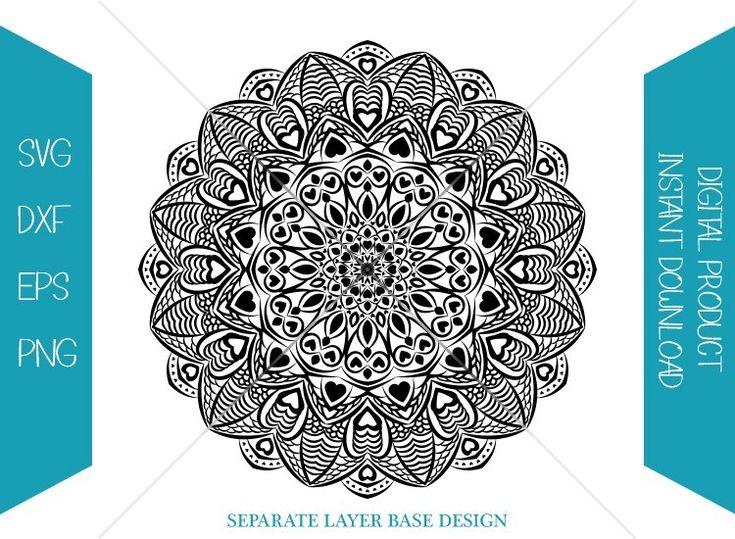 Download Mandala SVG | Boho Silhouette | Love Mandala | Valentine ...