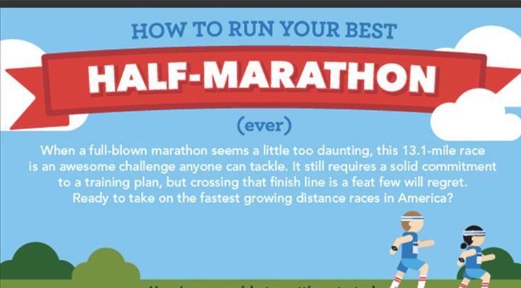 Halve marathon infographic! Denk voeding, training, blessurepreventie, motivatie en gear. The whole shebang én op een super coole manier geïllustreerd!