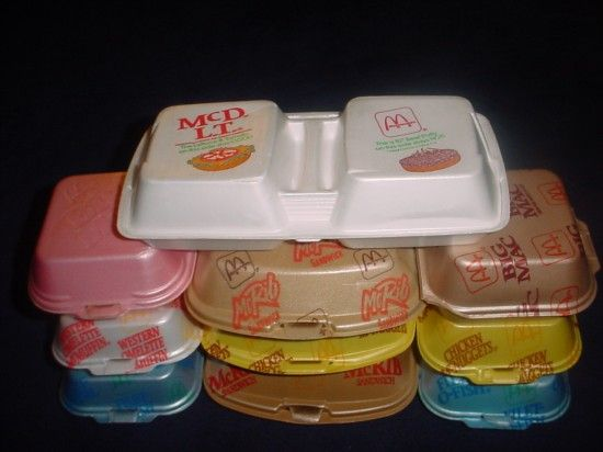 McDonald's sandwiches came in styrofoam containers ... note the McDLT container on the top! #80s #1980s #stayinalivenovi