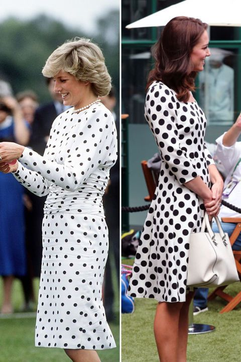 Diana in a black and white polka dot dress by Victor Edelstein at a polo match in 1987; Kate in a similar print by Dolce & Gabbana at Wimbledon in 2017.