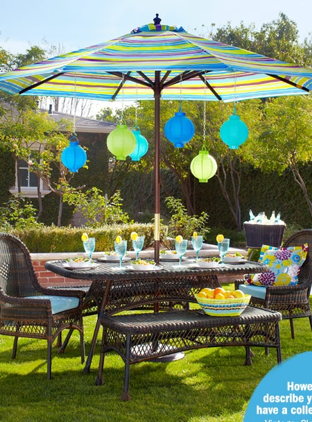 Pier 1 Outdoor Decor Featuring Santa Barbara Furniture And Catalina Cove  Stripe Market Umbrella