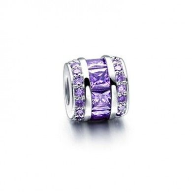 Pandora-Purple Crystal & Enamel,Sterling Silver Bead Charm
