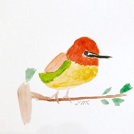 Red hummingbird artprint greetingcard