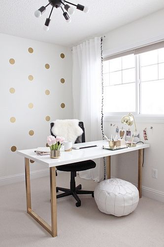 Gold and Girly Home Office by justbellablog