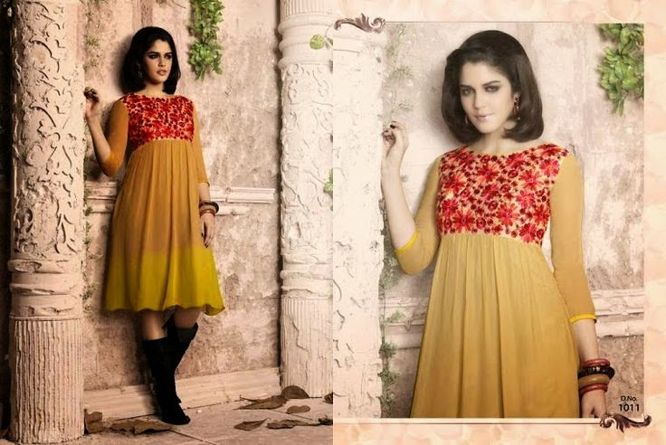 Superb Designer Ready to Wear Georgette Kurti with linning  in Yellow color with beautiful Thread Embroidery .  Available in S,M,L, XL size.