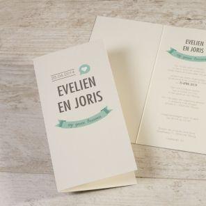 Deze vrolijke trouwkaart past perfect samen bij jullie Save-the-date kaart. Bevestig jullie mooiste dag aan alle vrienden en familie en plan het leukste feest.Dubbele kaart