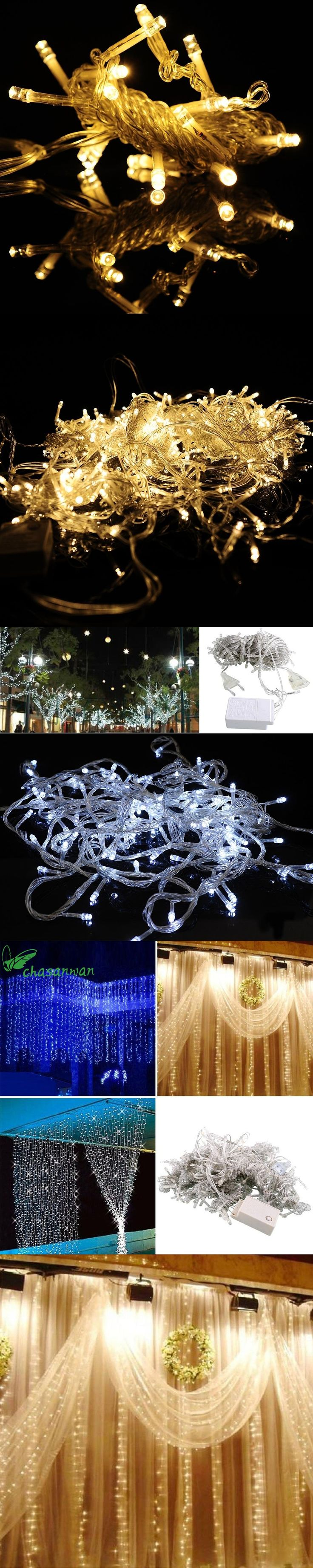 3 * 3m 300 LED Curtain New Year Lights Christmas Decoration Party Wedding  Decoration Home Christmas