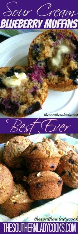 Blueberry muffins are wonderful and sour cream makes them the best! This makes a big blueberry muffin and is great for breakfast with coffee or as a snack