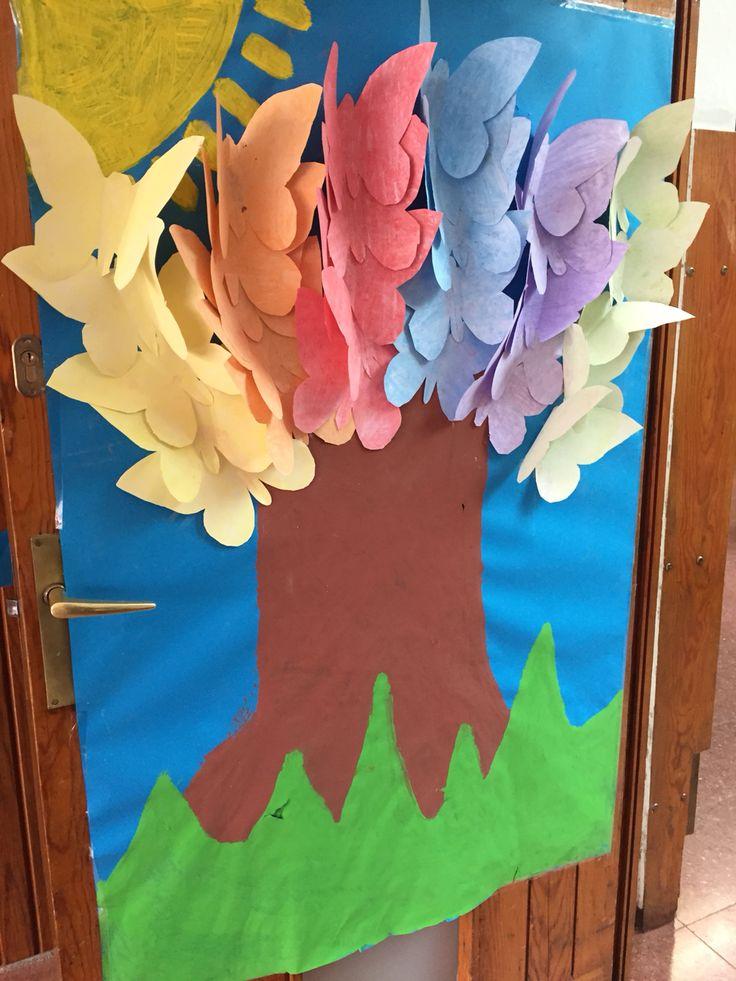 Classroom Decoration Cute ~ Árbol de primavera decoración puerta papel continuo azul