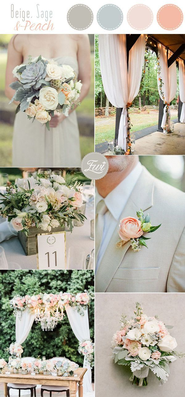 romantic cream,sage and peach summer country pastel neutral wedding color inspiration