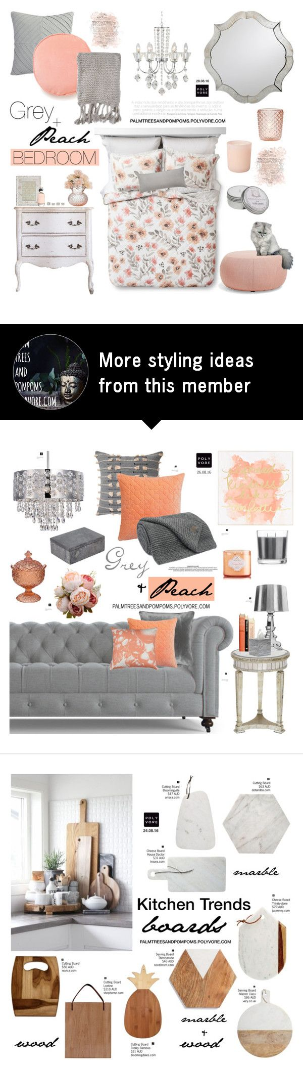 """""""Color Challenge: Gray & Peach / Watercolor Floral Quilt"""" by palmtreesandpompoms on Polyvore featuring interior, interiors, interior design, home, home decor, interior decorating, Threshold, CB2, Vienna Full Spectrum and Dot & Bo"""