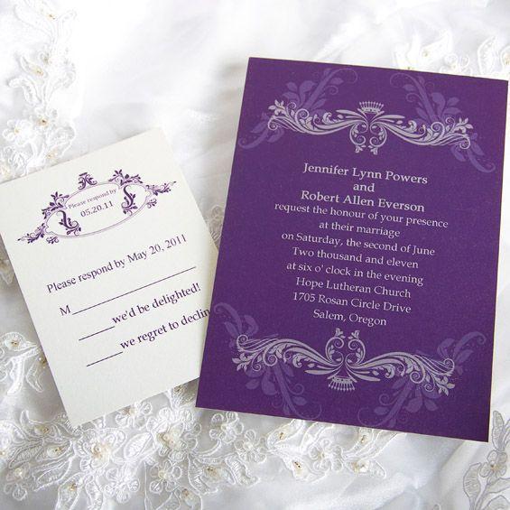 Vintage Purple Damask Custom Wedding Invitation Cards EWI047
