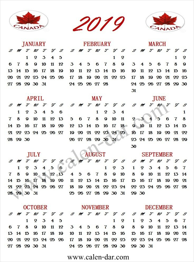 2019 Calendar Canada Canada Calendar 2019 Pinterest Calendar