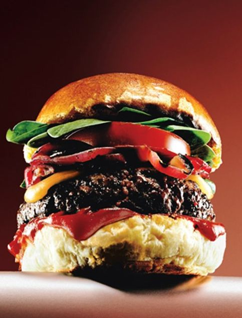 Kick Ass Burgers with Roasted Tomatoes, Caramelized Onions and Smoky Chipotle Ketchup