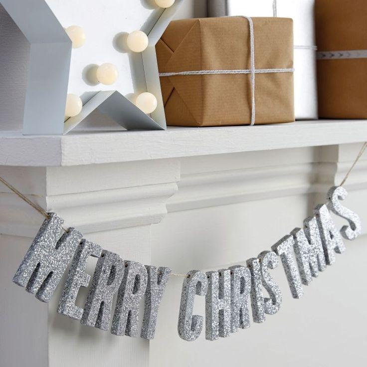 Merry Christmas Wooden Glitter Bunting - Christmas Metallics