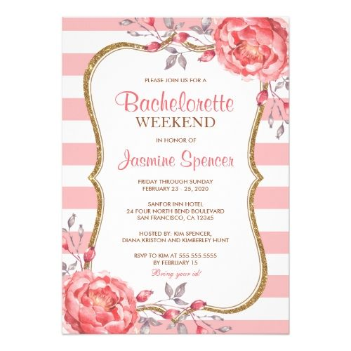 Floral Bachelorette Weekend Itinerary Invitations