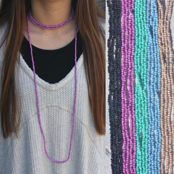 double wrap necklace w/ small beads (fun colors) by BeadzOnAString on Etsy