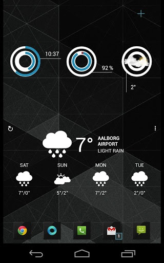 CirclClocks uccw skin v1.0 apk Requirements: Android 2.2+ Overview: Clock, battery, weather. Configurable colors