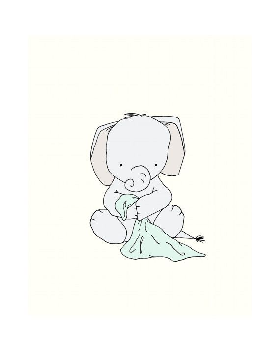Elephant Blankie Nursery Art *Be sure to select your size in the drop down box above. You can customize this print to any colors you