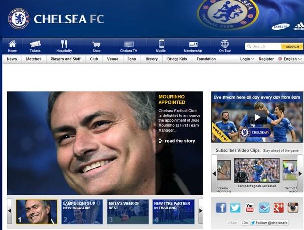 Chelsea agora confirma: MOURINHO!!! Reprodução site Chelsea José Mourinho (Foto: Reprodução / Site Oficial do Chelsea)