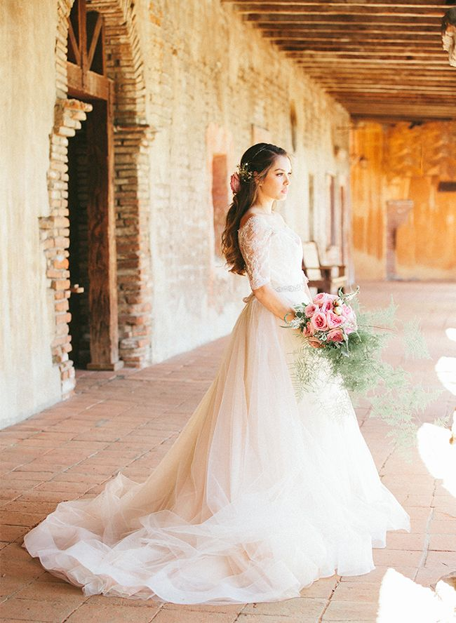 Beautiful bride in blush tulle wedding dress – Inspired By This