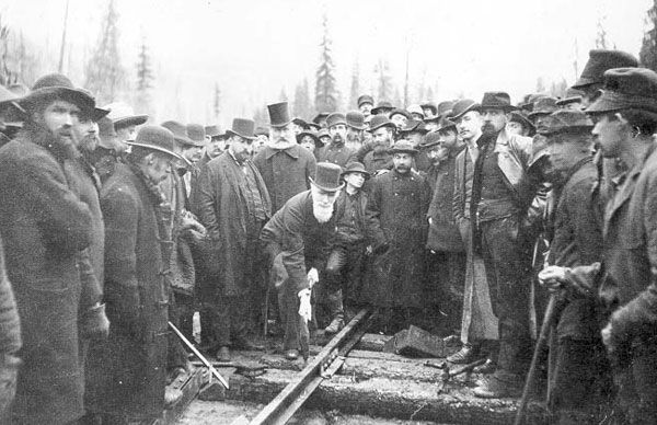 The Last Spike Driven In The Canadian Pacific Railway 1885.