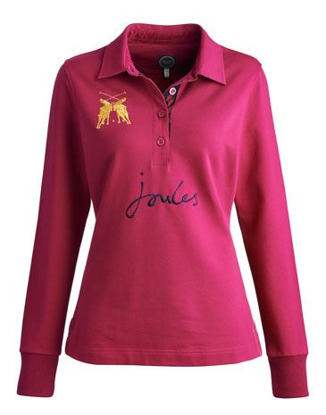 Joules null Womens Long Sleeved Polo, Ruby.                     Just the thing to pull on if you still want to get your sporty style fix in the throes of winter. Completed with badging, detailed embroidery and a contrast print under the collar.