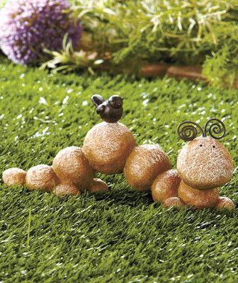 Ceramic Stone River Rock Caterpillar Garden Yard Lawn Statue Sculpture