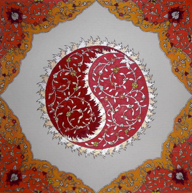Persian Illuminations (Tazhib) artwork by Mojgan Lisar: Lachak, Shamseh