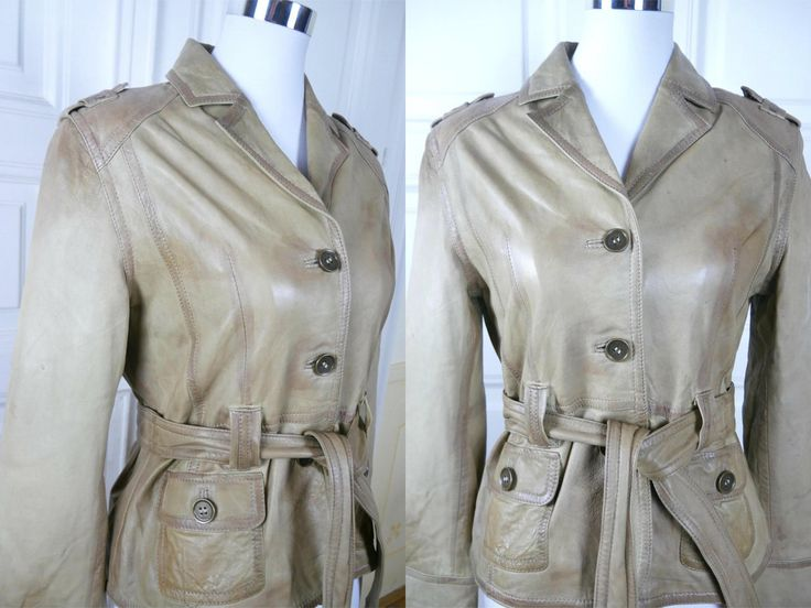 European Vintage Leather Jacket, Clay Gray Leather w Gold Undertones Women's Jacket, Well-Worn Leather w Stunning Patina: Size 8 US, 12 UK by YouLookAmazing on Etsy