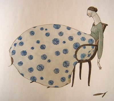 elena odriozola - Inspiration for illustration - do a quilt instead of a dress in her lap