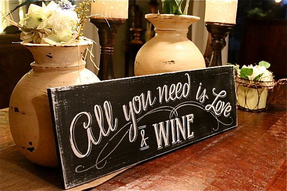 "All you need is Love & Wine chalkboard look hand painted sign 7""x22"""