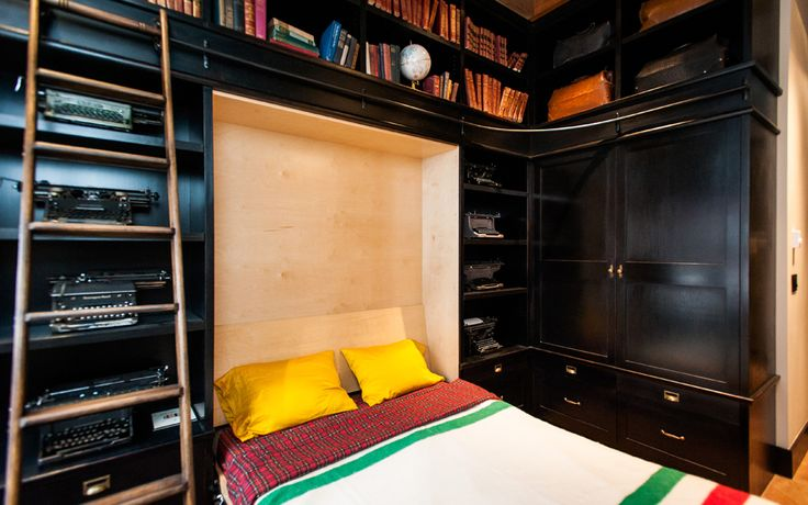 There are several terms that refer to this type of bed. Mostly known as a Murphy bed or a wall bed, this is an awesome feature for small bedrooms.They let
