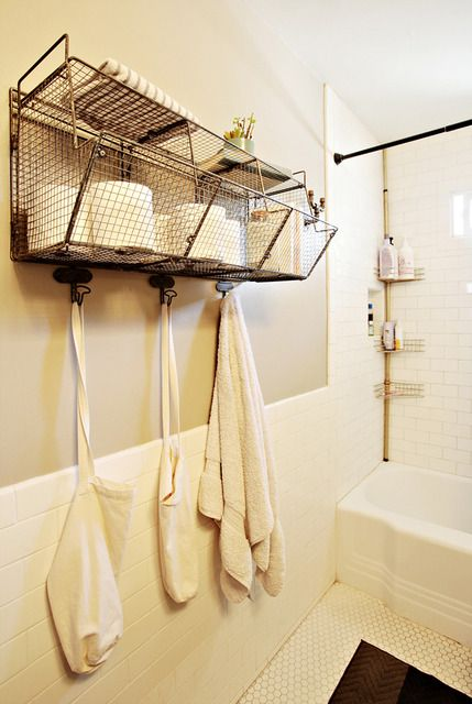 17 best ideas about wire basket storage on pinterest - Bathroom storage baskets shelves ...