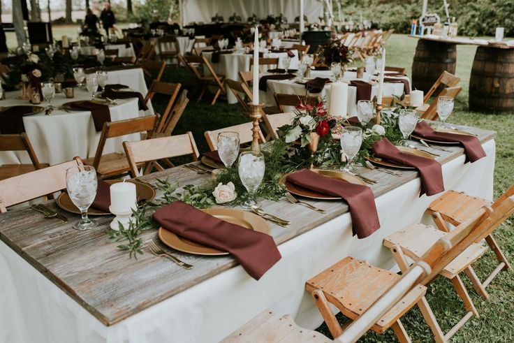 Wedding, Table Setting, Gold, Burgundy, Centerpieces, Fall Wedding, wood Table  pc: Alex Gaiser, Alexandria Hope Photography Millersport, Oh  Florals: Pat Warthen