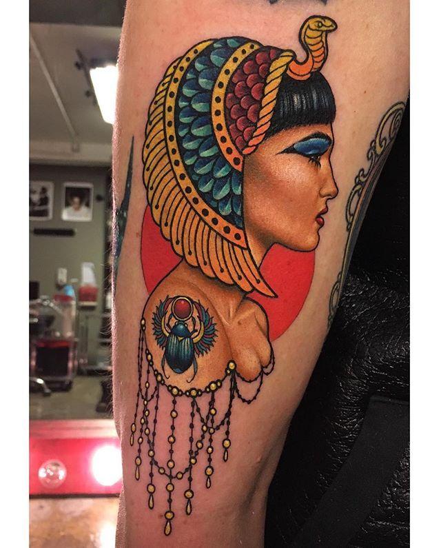 Cleopatra tattoo I did last week at my studio @gritnglory ✨