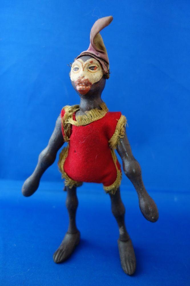 Antique Schoenhut White Face Monkey All Original Full Size Humpty Dumpty Circus