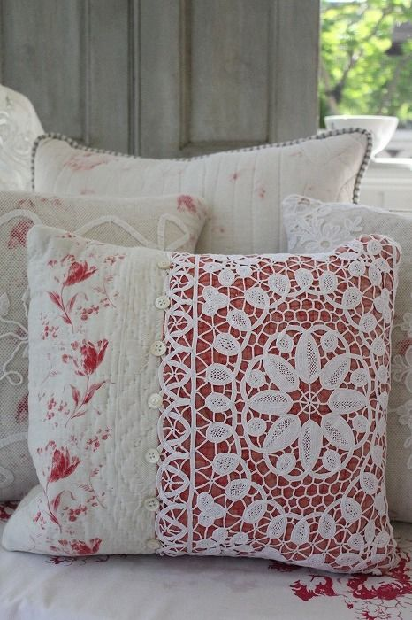 Old quilt and lace pillow