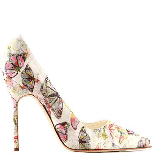 Butterflies Butterflies Butterflies ... Heels I Love..Manolo Blahnik canvas stiletto