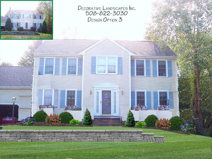 Landscape Design Front Of Colonial House Part - 20: Front Yard Landscape Design With Retainer Wall, MA