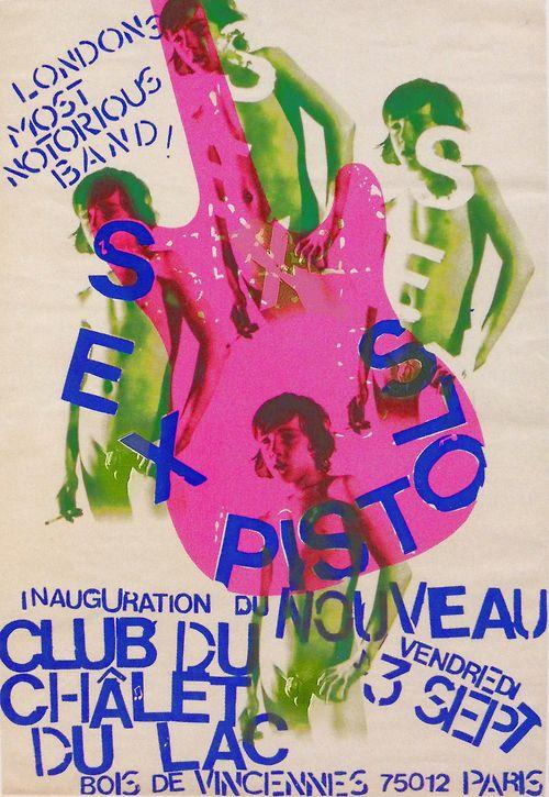 Sex Pistols in Paris, 1976 ( concert poster / poster art / graphic design  / london punk / sex pistols gig poster )