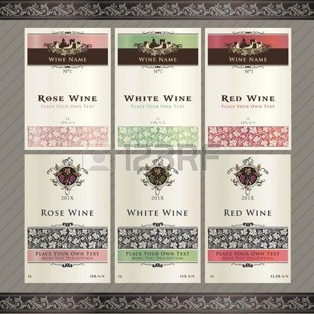 Serie di modelli di etichette di vino