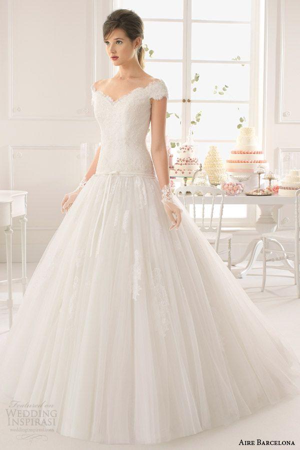Aire barcelona wedding dresses 2015 best wedding sleeve for Drop sleeve wedding dress