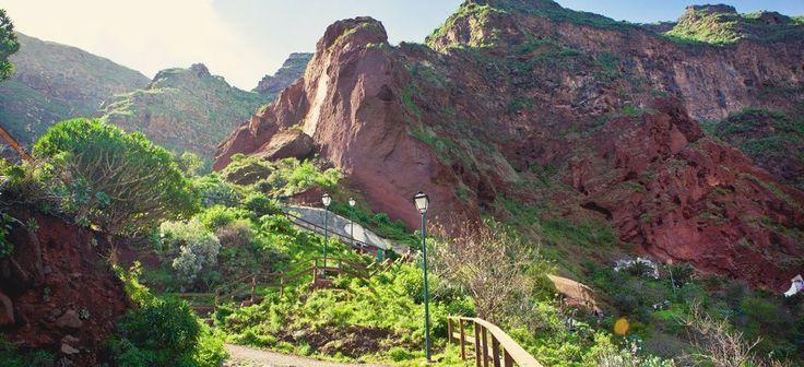 Barranco de Guayadeque, que separa el municipio de Ingenio y de Agüimes. Gran Canaria