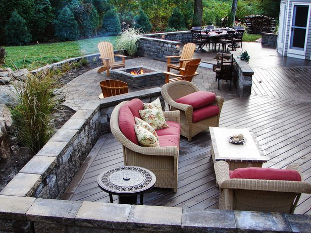 The Essential Steps to Landscape Design: Your backyard should be an outdoor living area to enjoy. If you need privacy, install wooden fencing or large shrubs around the perimeter to create walls. Decks and patios make great sitting or dining areas when the weathers appropriate and they create a nice overflow for guests during parties.  From DIYnetwork.com