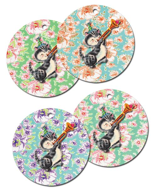 ♥ Freebie Image: Happy Birthday Vintage Kitty Tags!♥ | *Free ♥ Pretty ♥ Things ♥ For ♥ You*