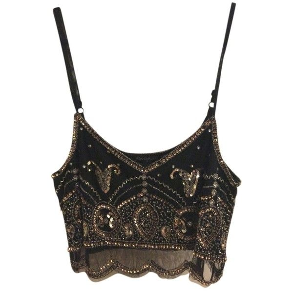 Pre-owned Miss Selfridge Unique Crop Top Black Gold Beaded ($62) ❤ liked on Polyvore featuring tops, crop tops, shirts, tanks, going out crop tops, night out tops, party crop top, crop shirts and going out tops
