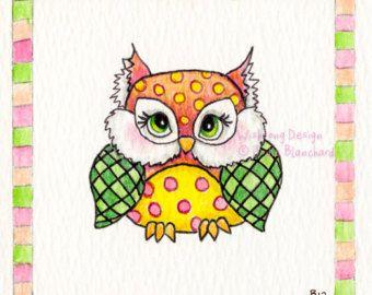 Whimsical owl art fine art print nursery art by Wishsongdesign