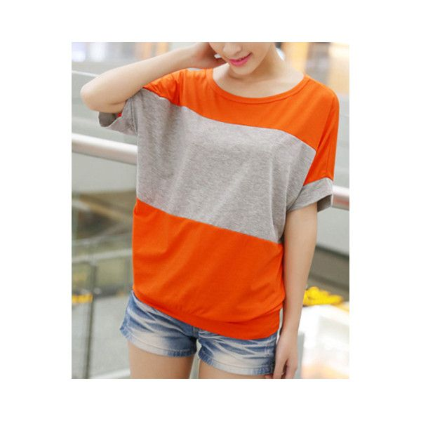 Stylish Scoop Neck Color Block Batwing Sleeve Women s T Shirt (195 ZAR) ❤ liked on Polyvore featuring tops, t-shirts, orange, colorblock top, color block t shirt, orange tee, color block top and colorblock tee