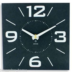 Modern Recycled Black Wall Clock Easy Read Numbers 20cm Square BY Ashortwalk from Janggalay